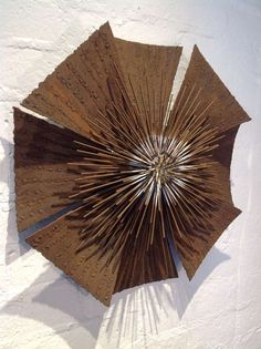 Brutalist Flower Wall Sculpture | From a unique collection of antique and modern wall-mounted sculptures at http://www.1stdibs.com/furniture/wall-decorations/wall-mounted-sculptures/