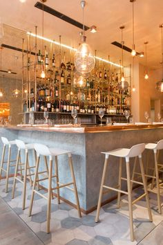 Inside this new restaurant in London is a copper lover's delight!  Bandol Restaurant by Kinnersley Kent Design