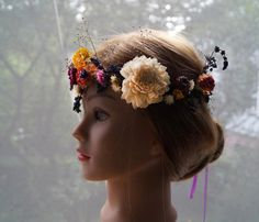 Antoher time, designers propose brides floral head wreath. It is perfect choice for light styling or boho style. Head wreath is a supplement to the dresses in vintage, empire, boho or even rustic style, everything depends on chosen flowers.   ****100% handmade****   In my shop, you can find head wreaths and hairbands, each of the propositions can be mounted on the ribbon in a selected color or on the lace. Please contact me about the option you choose.   Looking for something similiar…