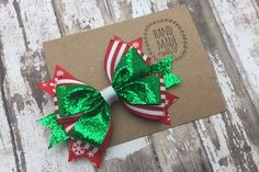 "Christmas Red White and Green Glitter Hair Bow , 5"" Christmas Bow , Holiday Hair Bows For Girls , Boutique Bow , Christmas Pageant Hair Bow"