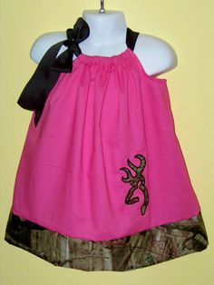 Camo & Hot Pink  Deer Pillowcase Dress / Girly by KarriesBoutique, $30.00