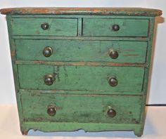 "Primitive 12"" PINE MINIATURE DRESSER-original green paint & hardware.   Sold  Ebay   302.00"