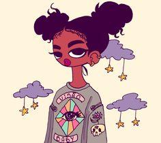 Brazilian digital artist fills her spunky illustrations with - AFROPUNK Black Girl Cartoon, Black Girl Art, Black Women Art, Art Girl, Black Girls, Arte Black, Black Art Pictures, Black Artwork, Afro Art