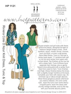 gotta make this. HP 1121 Riviera Cote D' Azur Knit Dress, Tunic & Top - HotPatterns