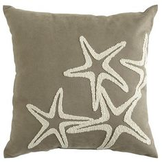 "Embroidered Starfish PIllow @ Pier One: ""Add a luxe touch to poolside or patio furniture with our newest collection of UV-treated outdoor pillows. Channeling an oceanic vibe, this gray style features an embroidered starfish design in a contrasting shade of shell white. The look is obviously indigenous to any well-decorated garden or yard."""