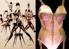 Jean Paul Gaultier - The Madonna Cone bra and illustrations Madonna Vogue, Jean Paul Gaultier, Fashion Design Classes, High School Fashion, Retro Lingerie, Western Outfits, Cone Bra, Material Girls, Military Fashion