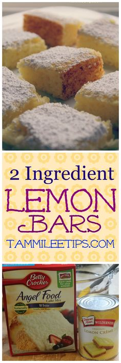 Super easy 2 ingredient Lemon Bars Recipe! No eggs, made with cake mix, and pie filling! This delicious dessert recipe is one of the best easy recipes we have made! via @tammileetips