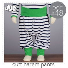 Harem pants pattern baby and toddler, cuff waist, photo tutorial sizes 0-6T -Pattern 48