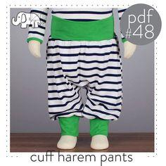 Brindille & Twig Cuff Harem Pants #48: Harem pants pattern baby and toddler, cuff waist, photo tutorial sizes 0-6T -Pattern 48