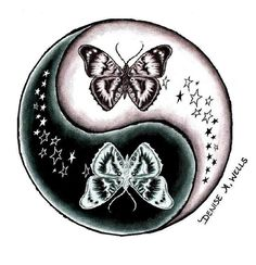 Butterfly and Stars Yin Yang tattoo (maybe with sun and moon not butterfly)
