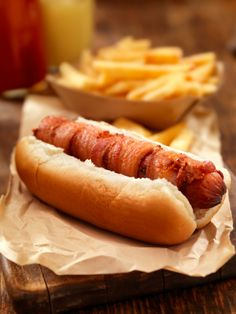 Bacon Wrapped Hot Dogs. Umm...BACON WRAPPED OT DOGS!!!!!