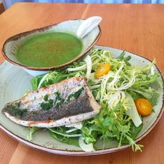 """#tgkingst Today we have Grilled trout pickled kumquat fennel butter lettuce frisée and a chilled asparagus soup! It's heating up out there so cool down in here! #soma #sf #eatstagram #yumstagram #fresh #sfwine #decadent #eatfresh #homesweethome #california #farmtofork #farmtotable #local #goodeats #foodie #grubbin #yelp #special #lunch #trout"" via @tendergreenskingst"