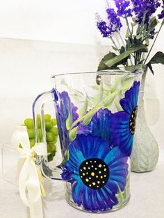 Hand Painted Glass Pitchers by PaintedPetalz on Etsy
