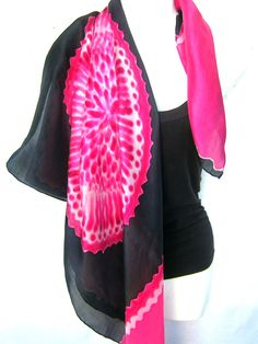 """Hand Painted Silk Scarf, Lace Mandala, Black Red White, 35"""" Square Silk Scarf, Gift For Her by silkshop on Etsy"""