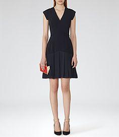 Womens Night Navy Pleat-hem Dress - Reiss Janie