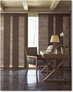 Furniture and Accessories. Fascinating Natural Accents Woven Sliding Panel for Big Window Treatments, Cool Ideas for Rustic-Style Interior Decorating Ideas. Sliding Panel for Room Dividers, Windows, and Glazed Door Treatments: Enhance the Look and Brightness of Your Interior Scheme