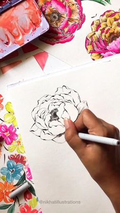 Watercolor Art Lessons, Watercolor Design, Watercolor Techniques, Watercolor Paintings, Botanical Line Drawing, Floral Drawing, Peony Flower, Flower Art, Watercolor Flowers Tutorial