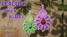 Macrame tutorial - The peacock pattern Earing and necklace - Simple guide