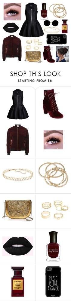 """""""Red and Black"""" by trombone20 ❤ liked on Polyvore featuring Lavinia Cadar, Catherine Catherine Malandrino, Dorothy Perkins, Panacea, ABS by Allen Schwartz, From St Xavier, Charlotte Russe, Deborah Lippmann, Tom Ford and Casetify"""