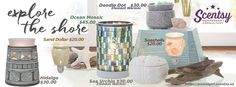 Scentsy 2016 Spring Summer Catalog. Coming March 1, 2016. Doodle Dot, Ocean Mosaic, Sea Urchin, Hidalgo, Seashells, and Sand Dollar. Available at https://postalgirl.scentsy.us Scentsy 2016 Scentsy Spring Summer 2016, Beach, Ocean, Shore,