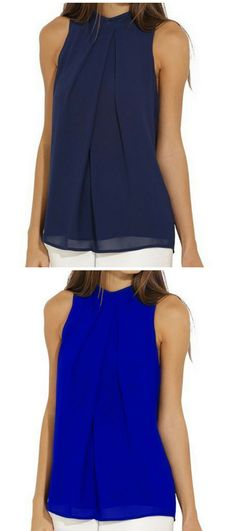 3367e65fd69519 Fashion Summer Loose Navy Sleeveless Flounce Halter Blouses