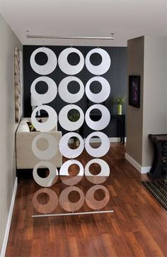 Mirrored Hanging Room Divider - x in. - The Mirrored Hanging Room Divider - x in. divides or defines your space. This modern room divider includes four diameter concentric ci. Hanging Room Dividers, Room Divider Screen, Space Dividers, Room Deviders, Partition Design, Wood Partition, Modern Room, Office Interiors, Wall Decor