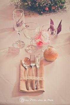 déco de table champêtre et liberty avec grues en origami au mariage de Mme Coquette