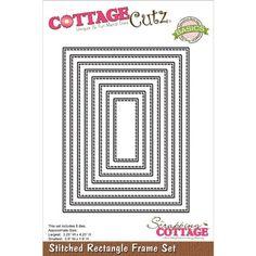 Cottage Cutz Basics Frame Die Set of 8 - Stitched Rectangle