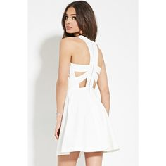 Forever 21 Women's  Cutout-Back Dress ($30) ❤ liked on Polyvore featuring dresses, white sleeveless dress, white a line dress, cutout back dress, cut-out back dresses e forever 21 cocktail dresses