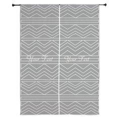 Stylish Retro Style Grey White Pattern Curtains, editable text #grey #pattern
