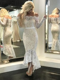 Custom Made Great Mermaid Wedding Dresses Off The Shoulder Vintage Lace Wedding Dresses Mermaid Beach Bridal Dresses Long Sleeve Bridal Dresses, Beach Bridal Dresses, Lace Mermaid Wedding Dress, Mermaid Prom Dresses, Lace Dress, Lace Wedding, Dress Prom, Bridal Gowns, Bodycon Dress