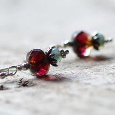 Sterling Silver Czech Glass Earrings Sangria by figgylanejewelry, $28.00