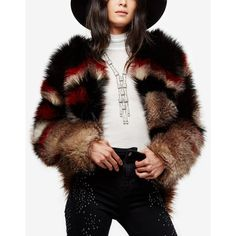 Free People Scarlet Faux-Fur Jacket ($298) ❤ liked on Polyvore featuring outerwear, jackets, red combo, fake fur jacket, free people jacket, faux fur jacket, red jacket and evening jackets
