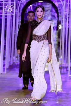 Tarun Tahiliani white designer saree