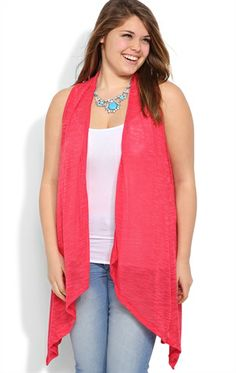 Plus Size Sleeveless Cozy with Racerback and Drape Front - DebShops.com