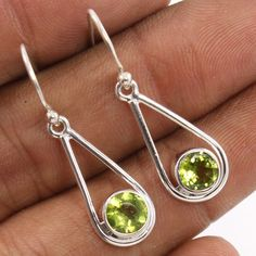 Charming Earrings 925 Sterling Silver Natural PERIDOT Gemstones ! Best Love Gift #Unbranded #DropDangle