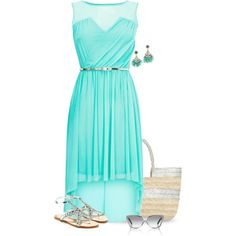 """Tiffany Blue Dress for Summer"" by yasminasdream on Polyvore"