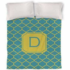 Thumbprintz Moroccan Monogram Teal Duvet Cover, Blue