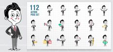 Flat Businessman Character Design made in a set of 112 different poses. It will surely leave a lasting impression on people.