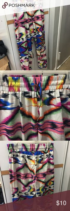 Parachute Pants! Rainbow baggy pants // fits to size // lightly worn #pants #rainbow #blue #white #black #pink #yellow #orange #green #pink #purple Pants