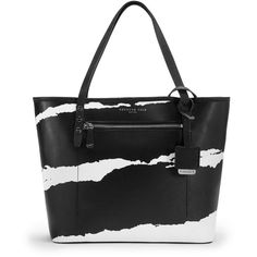 Kenneth Cole New York Dover Street Leather Tote Bag ($128) ❤ liked on Polyvore featuring bags, handbags, tote bags, two tone leather tote, two tone tote, leather handbags, kenneth cole tote bag and kenneth cole