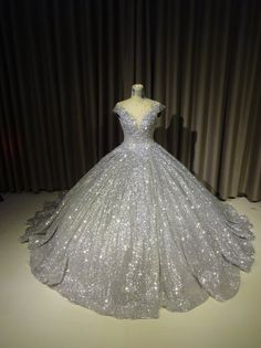 Items similar to Sparkly Silver Gown, Silver Dress - Silver Ballgown - Wedding Gown, Modern Evening Wear, sparkly Ballgown, Custom Made on Etsy Silver Ballgown, Wedding Gown Ballgown, Silver Gown, Xv Dresses, Quince Dresses, Ball Gown Dresses, Dresses For Balls, Ball Gowns Prom, Pageant Dresses