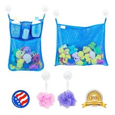 2 x Mesh Bath Toy Organizer + 6 Ultra Strong Hooks - The Perfect Net for Bathtub Toys & Bathroom Storage - These Multi-Use Organizer Bags Make Bath Toy Storage Easy - For Kids, Toddlers & Adults - https://all4babies.co.business/2-x-mesh-bath-toy-organizer-6-ultra-strong-hooks-the-perfect-net-for-bathtub-toys-bathroom-storage-these-multi-use-organizer-bags-make-bath-toy-storage-easy-for-kids-toddlers-adul-2/  #Adults, #Bags, #Bath, #Bathroom, #Bathtub, #Easy, #Hooks,