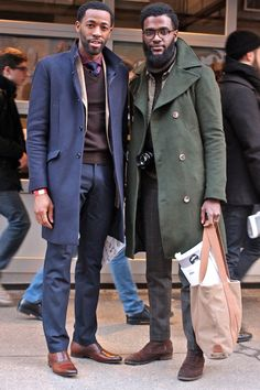 Shop this look on Lookastic: http://lookastic.com/men/looks/dress-shirt-tie-v-neck-sweater-blazer-overcoat-dress-pants-oxford-shoes/8740 — Red Gingham Dress Shirt — Navy Tie — Dark Brown V-neck Sweater — Beige Blazer — Navy Overcoat — Navy Dress Pants — Brown Leather Oxford Shoes