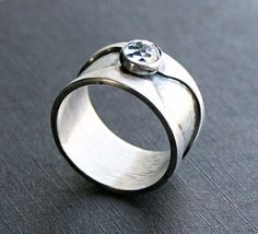Sterling Silver Wide Band Ring With White Topaz Gemstone Accent