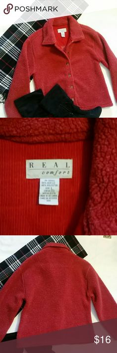 Real Comfort red coat EUC Real Comfort red coat, jacket, real Comfort Jackets & Coats Pea Coats