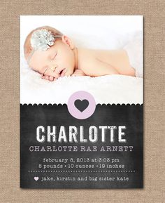 BABY Announcement BIRTH Announcement - Chalkboard Heart - PRINTABLE -