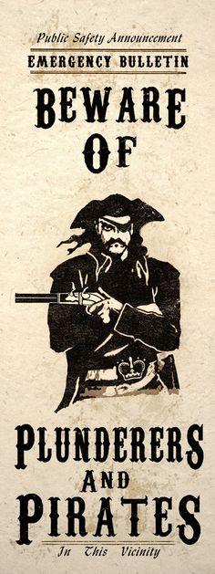Steampunk Art Print Wall Poster Beware Pirates   eBay