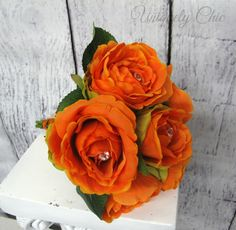 Orange rose bouquetRhinestone bling by UniquelyChicWeddings