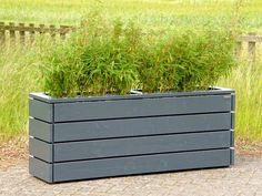 Pflanzkasten aus Holz lang, Länge: 172 cm, Höhe: 68 cm, Farbe: Anthrazit Grau